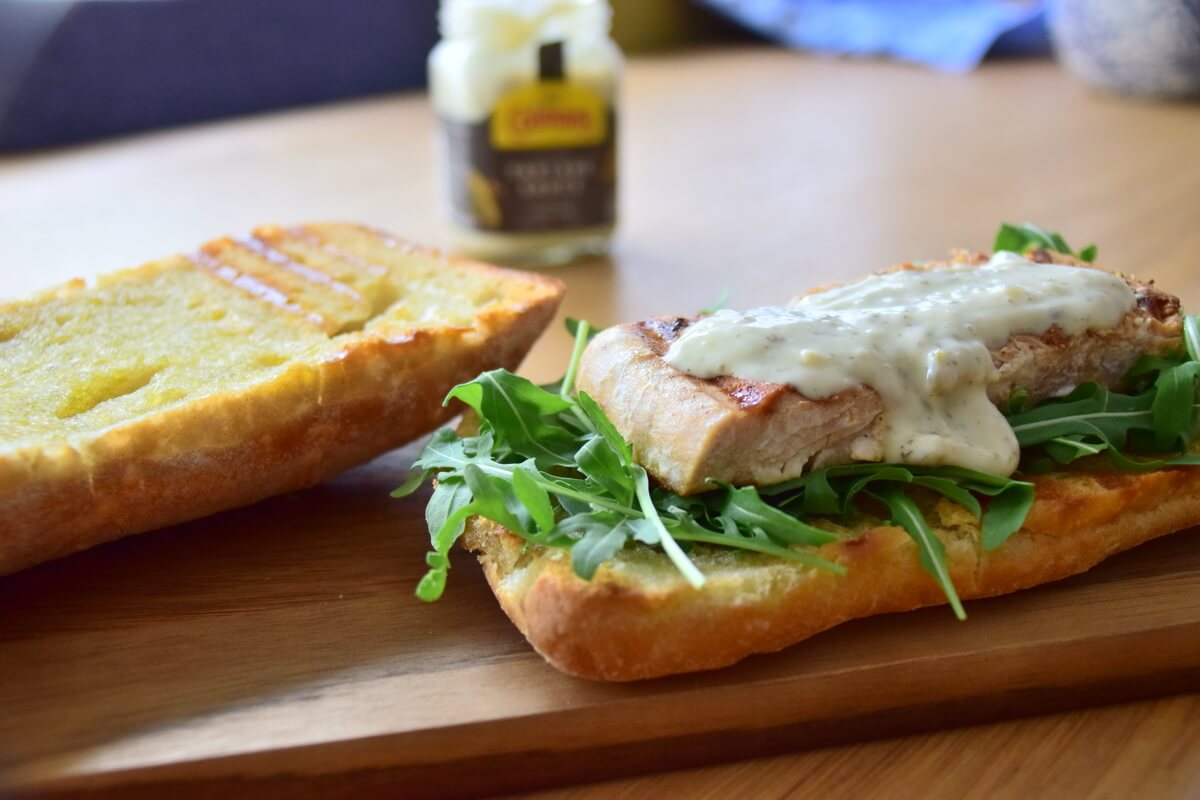 Ciabatta with Citrus Salmon Glaze and Tartar Sauce