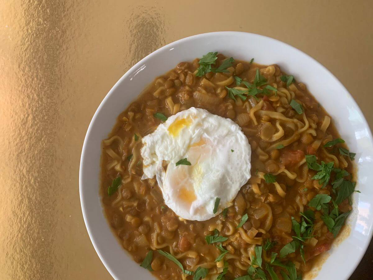 Indian Lentil Soup with Poached Egg