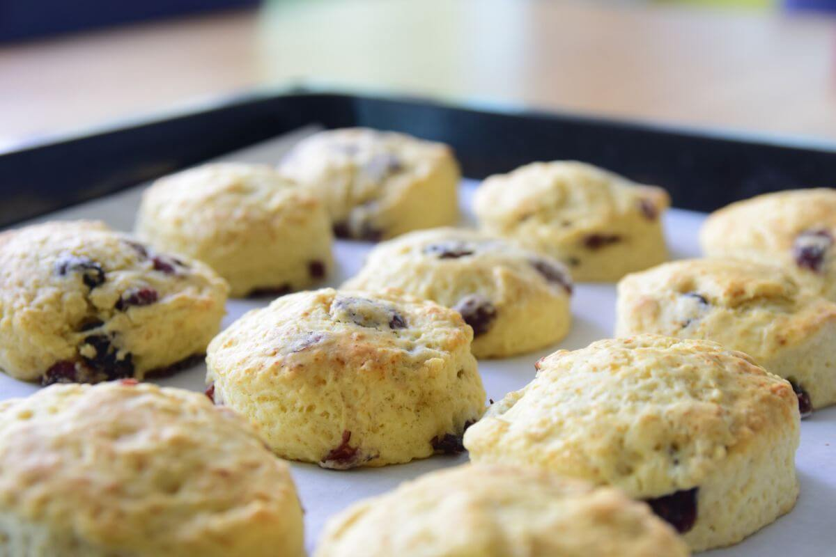Cranberry scones with an ice cream filling